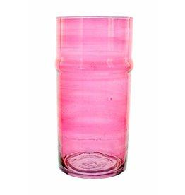 Verre Beldi Vase soufflé à la bouche - Rose 28cm L