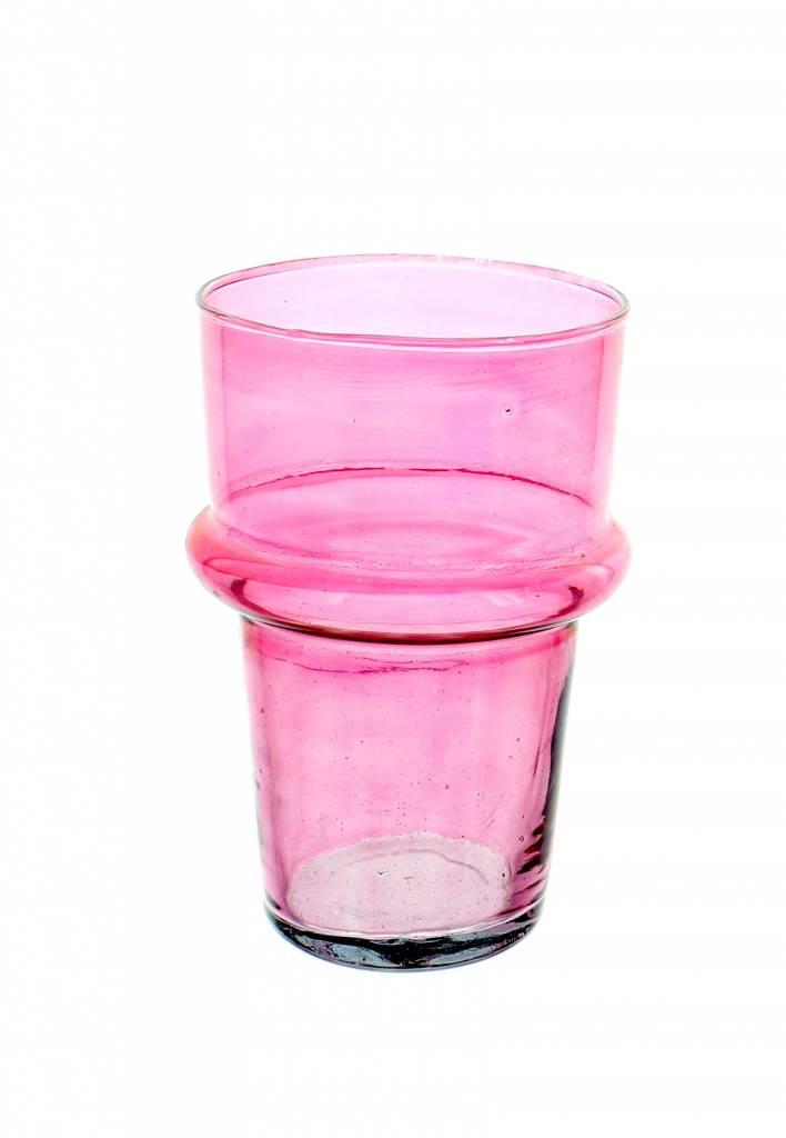 Verre Beldi Vase soufflé à la bouche - Rose 20cm M