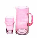 Verre Beldi pitcher mouthblown glass 1L pink