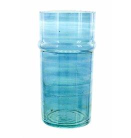 Verre Beldi Handgeblazen vaas - Blauw 28cm L