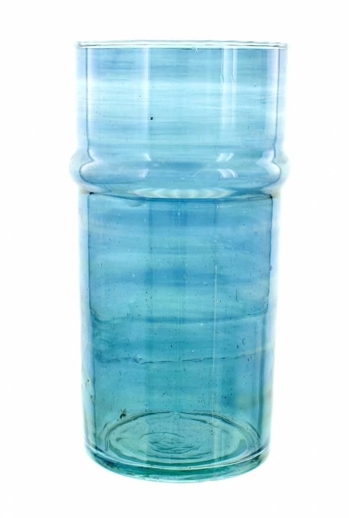 Verre Beldi Vase soufflé à la bouche - Bleu 28cm L
