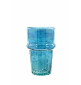 Verre Beldi Vase soufflé à la bouche - Bleu 20cm M