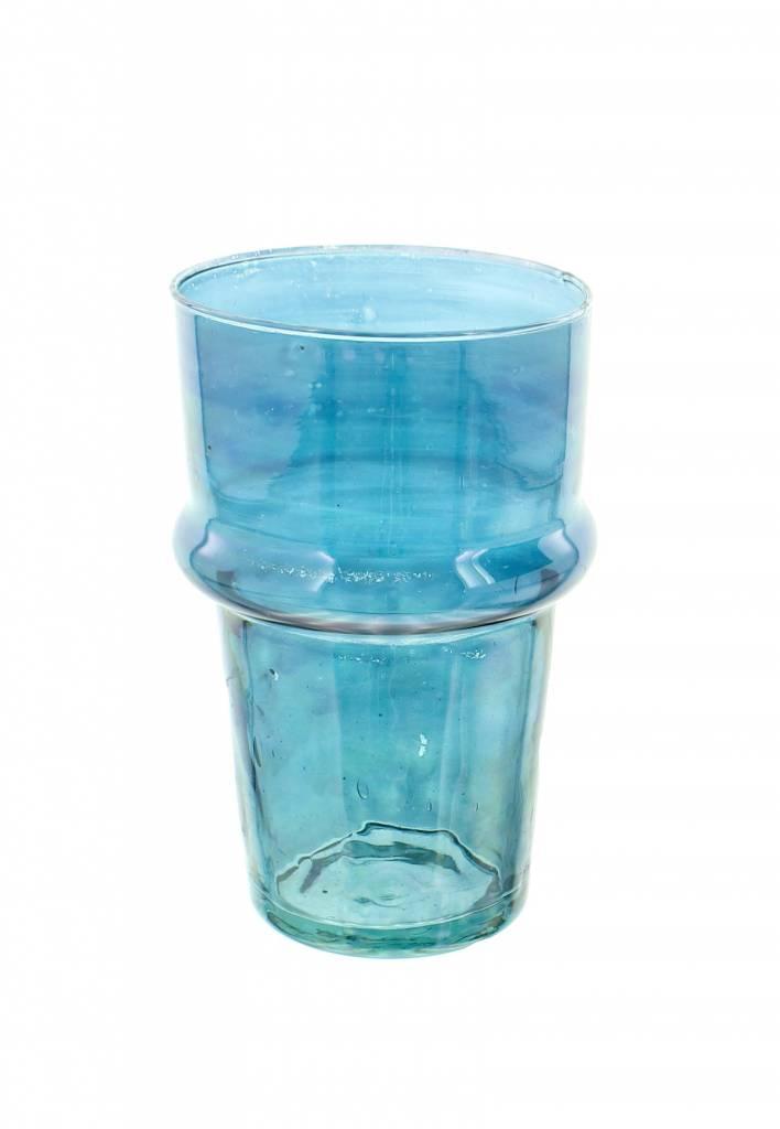 Verre Beldi mouthblown vase large 20cm blue
