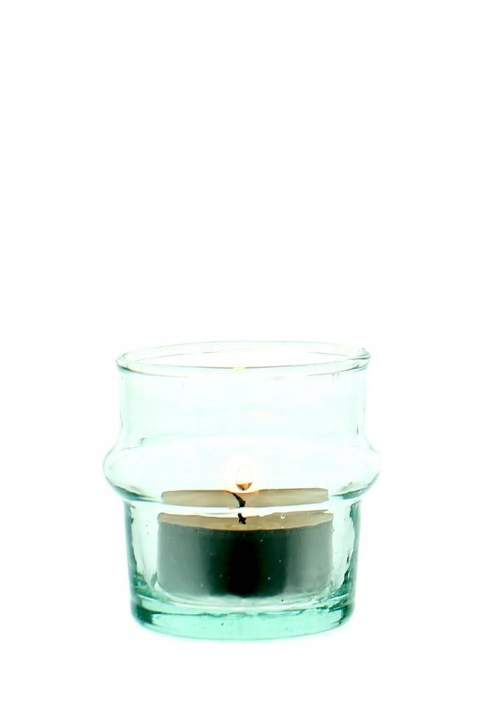 Verre Beldi mouthblown candleholder clear