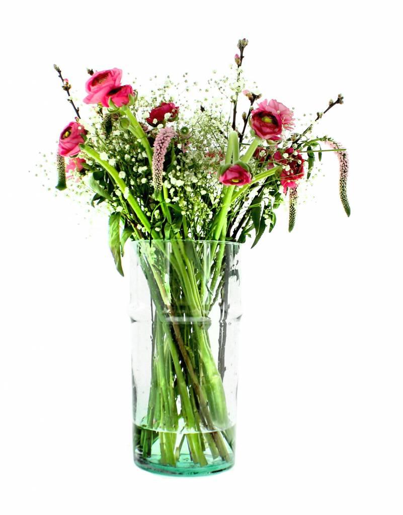 Verre Beldi Vase soufflé à la bouche - Transparant 28cm L