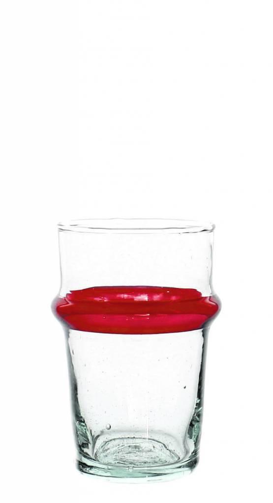 Verre Beldi Verre à thé soufflé - Transparant avec ligne rouge 12cl