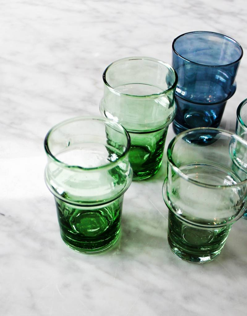 Verre Beldi mouthblown glass blue