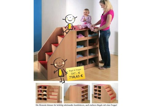 Conen Anziehregal mit Treppe und Erkennungsbildchen