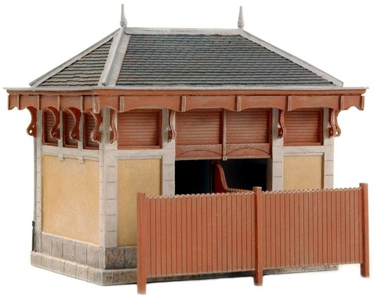 French restroom facility and railroad equipment hut