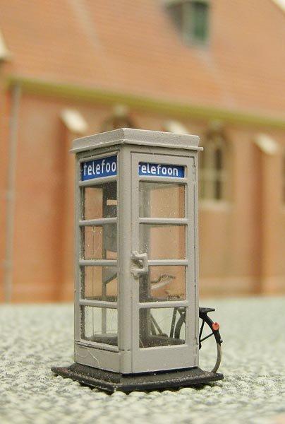 Holländische Telefonzelle der PTT 1940 - 1960, 1:87, Bausatz aus Resin, unlackiert