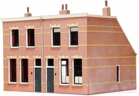 Dubbele volkswoning 1920, 1:160, bouwpakket uit resin, ongeverfd