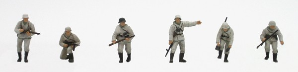 Set 1 Infanterie Winter, 6 Figuren, 1:87, Bausatz aus Resin, unlackiert