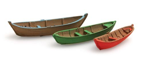 Ruderboote (3x), 1:160, Fertigmodell ausResin, lackiert
