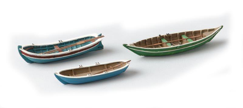 Ruderboote 3 Stück, 1:87 Fertigmodell aus Resin, lackiert