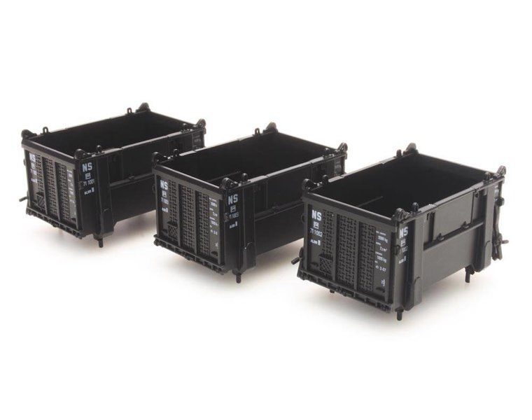 Set 3 open containers, black