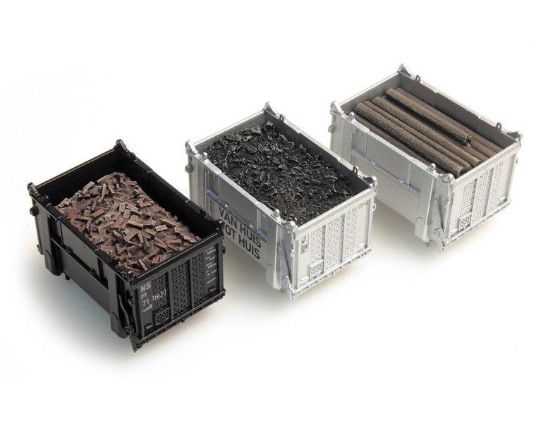 Cargo container: coal, beams, rubble