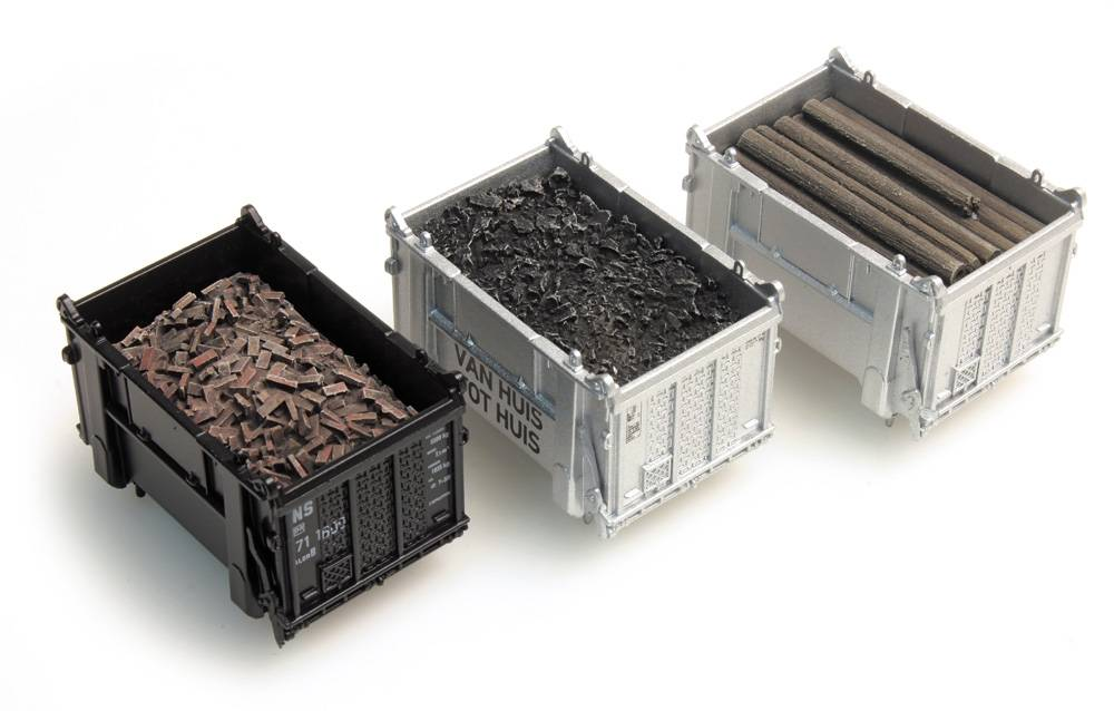 Cargo container: coal, beams, rubble