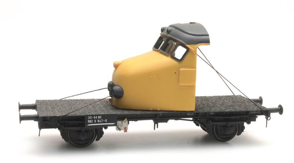 GTU-Flachwagen mit Kabine gelb