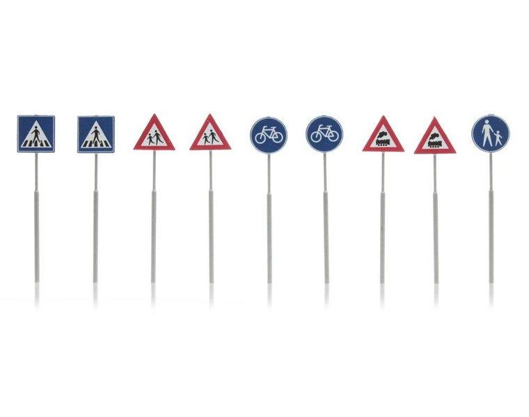 NL Verkehrsschilder: Fußgänger, Fahrrad, Zug 9 Stück