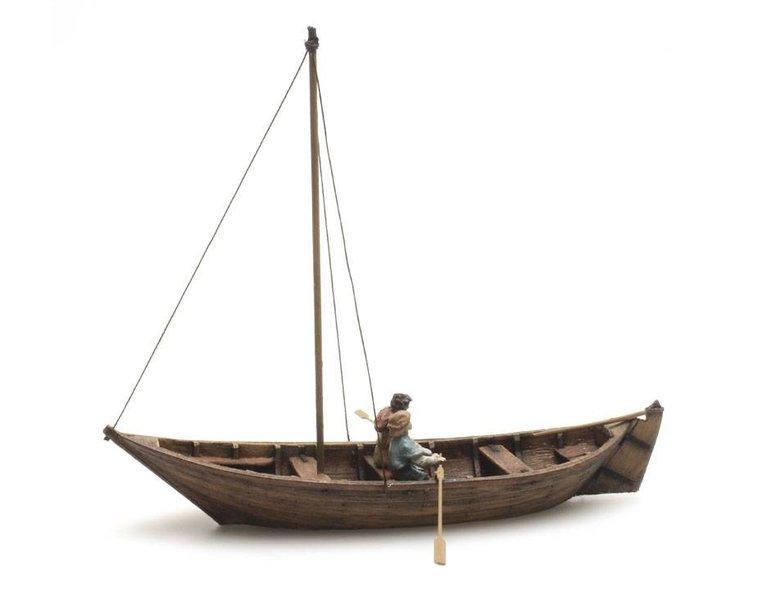 Ruderboot + 2 Figuren, 15. Jahrhundert