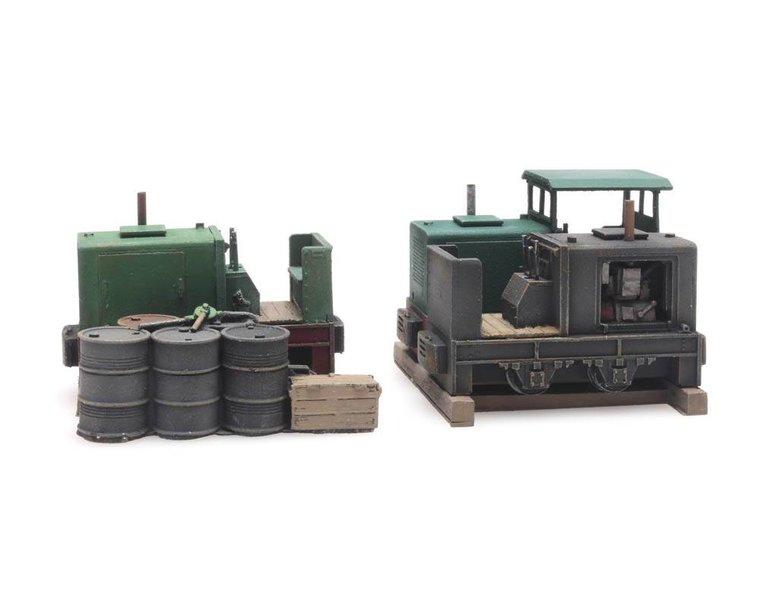 Ladung: Drei Trümmerbahn Windhoff Lokomotive