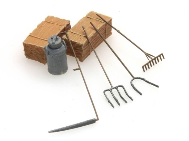 Farmer's tools: scythe, rake, pitchforks