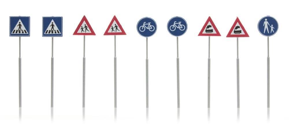 NL Verkehrsschilder:  Fußgänger, Fahrrad, Zug (9)