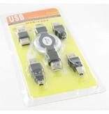 5 delige USB Connector Set voor PC, Laptop, Smartphones, Camera's en MP3