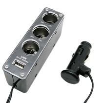 12 en 24 Volt 3 Poort + USB Auto Splitter