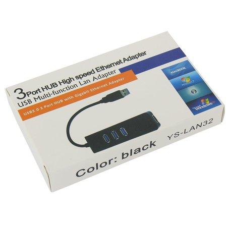 USB 3.0 Gigabit Ethernet Adapter met USB Hub