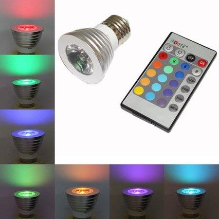 E27 RGB  LED-Spot met infrarood afstandsbediening - 3Watt - Dimbaar
