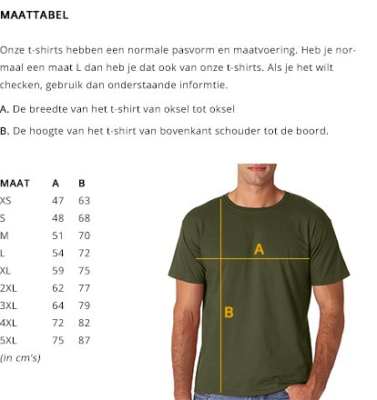 Maattabel T-Shirts