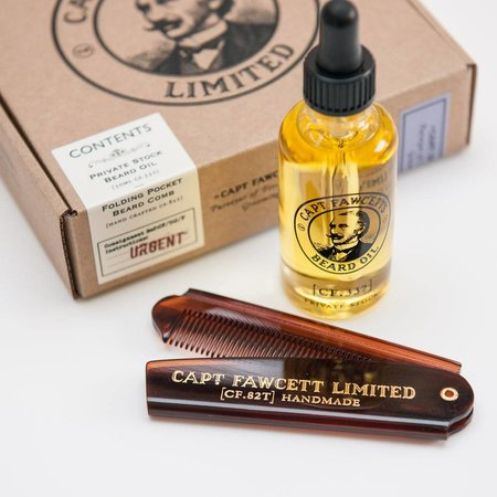Captain Fawcett Capt. Fawcett's Moustache wax Sandelwood / Comb Giftset - Copy