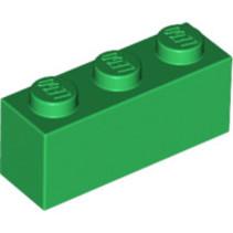 Brick 1x3 groen, 10 stuks
