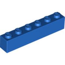 Brick 1x6 blauw, 10 stuks