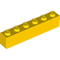Brick 1x6 geel, 10 stuks