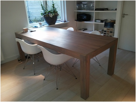 Handgemaakte eiken houten tafel van nellie houten vloeren