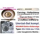 "Carving Umrüstung 1/4"" 25cm Dolmar ES 151 152A 160 162A 171 172A 2030A Elektro- Kettensäge"