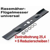 Rasenmähermesser 38cm Rasenmäher Flügelmesser universal mit Mittelzentrierung - Adapterscheiben