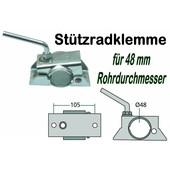 Anhängerstützrad - Halter / Stützradklemme für PKW - Anhänger mit 48mm Rohrdurchmesser