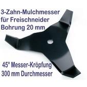 Freischneidermesser Mulchmesser 300 / 20 / 4mm / 45° 3-Zahn Dickichtmesser für Motorsense + Freischneider
