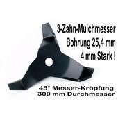 Freischneidermesser Mulchmesser 300 / 25,4 / 4mm / 45° 3-Zahn Dickichtmesser für Motorsense + Freischeider