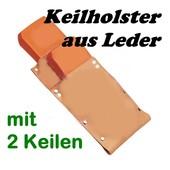 Forst Holster Keilholster Keiltasche mit Forstkeilen 2 x Fällkeil / Schnittkeil für Motorsägen