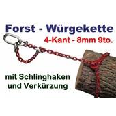 Forstkette 3.0m 4-Kant 8mm Rückekette mit Verkürzung Kettenglieder G8 mit Öse 110x60x16 als Chokerkette