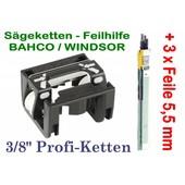 """Feilhilfe EIA BAHCO + 3 Feilen 5,5mm für 3/8"""" Profi - Kettenteilung schärfen der Sägekette für Kettensäge"""