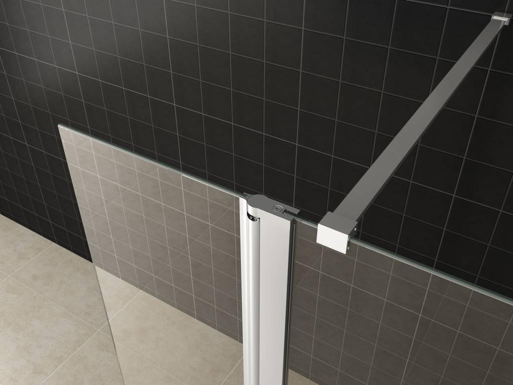 Douchewand Glas 90 Cm.Aqua Splash Zijwand Met Scharnierprofiel 30x200 Cm 10 Mm Glas Met