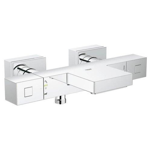 Cube badkraan thermostatisch met omstel en koppeling Chroom