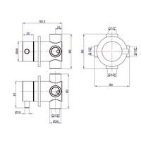3-weg omstel Ore Inbouw 1/2 inch RVS