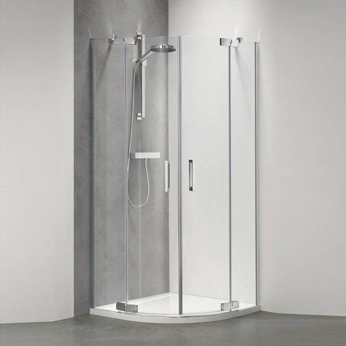 Get Wet by Sealskin Douchecabine Custom Kwartrond 100x100 cm Zilver hoogglans Helder glas