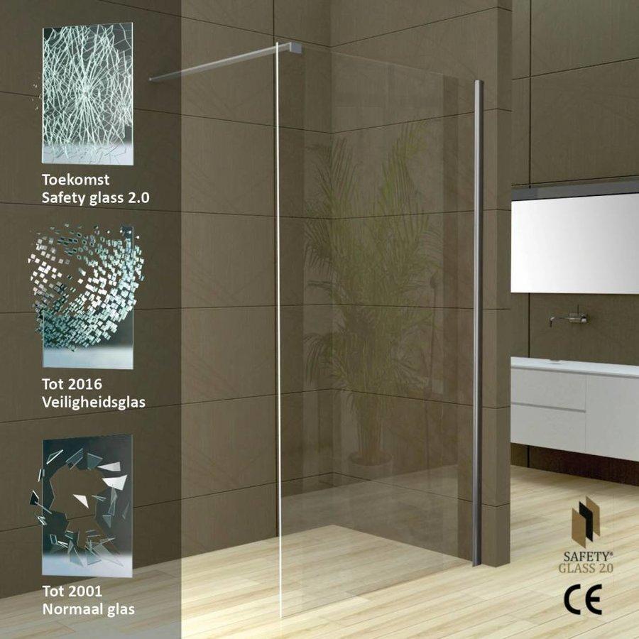 Safety Glass 2.0 Inloopdouche + Muurprofiel 10Mm Nano Glas (In 4 Maten Verkrijgbaar)